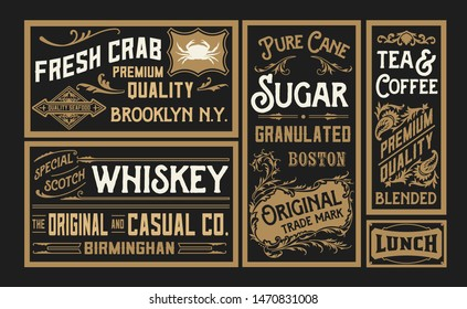 Set of old advertisement designs and labels
