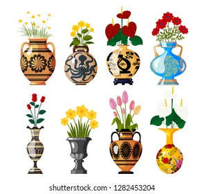 Set of old antique amphoras with blooming flowers for decoration and interior design on a white background. Chamomile, tulip, poppy, rose, narcissus, lilac. Vector illustration