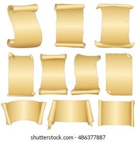 Set of old blank scrolls paper on white background .Vector illustration