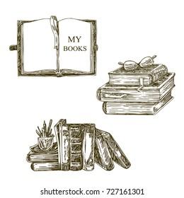Set of old books. Sketch. Vector illustration.