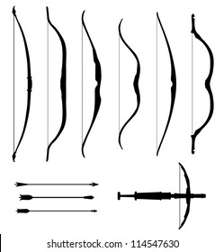 Set of old bows. Contour collection of weapons icons. Black isolated silhouettes of historical hunting and battle bows. Bow, arrow, arbalest, crossbow