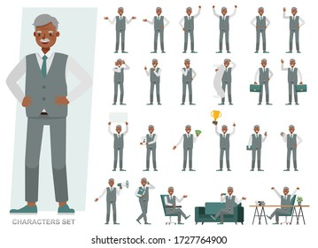 Set of Old businessman character vector design. Presentation in various action with emotions, running, standing and walking. People working in office planning, thinking and economic analysis.