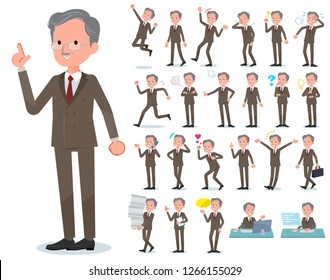 A set of old businessman with who express various emotions.There are actions related to workplaces and personal computers.It's vector art so it's easy to edit.