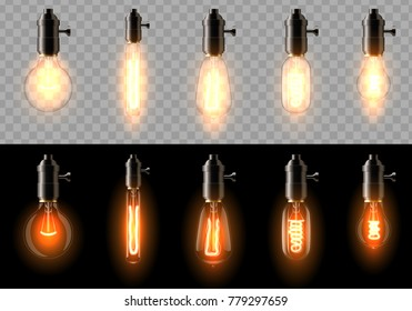 A set of old, classic, retro incandescent bulbs of different shapes. On a transparent and black background. Suitable for a cafe, bar, restaurant. Creates a cosiness. eps 10