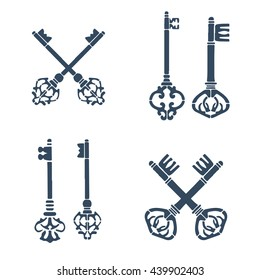 Set of old crossed keys silhouettes. Vector illustration.