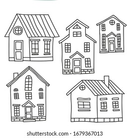Set of old european houses isolated on vintage background. Hand drawn sketch in doodle style. Vector image, clipart, editable details. Fairytale houses for stickers or coloring books