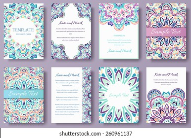 Set of old fairy tail flyer pages ornament illustration concept. Vintage art traditional, Islam, arabic, indian, ottoman motifs, elements. Vector decorative retro greeting card or invitation design.