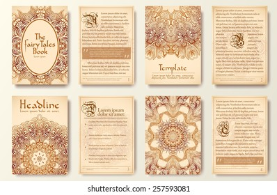 Set of old fary tail flyer pages ornament illustration concept. Vintage art traditional, Islam, arabic, indian, ottoman motifs, elements. Vector decorative retro greeting card or invitation design.