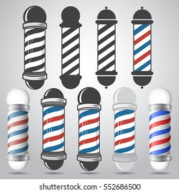 Set of old fashioned vintage glass barber shop poles with stripes. Vector illustration