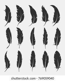 set of old feather for writing on white background