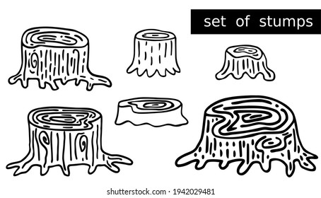 Set of old forest stumps with many roots that are difficult to uproot. Cute hand drawn line art for kids designs on theme of wildlife. Fun woodland black doodles for icons. Vector cartoon illustration
