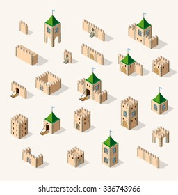 Set old fortress fort. Isometric view vintage medieval building home