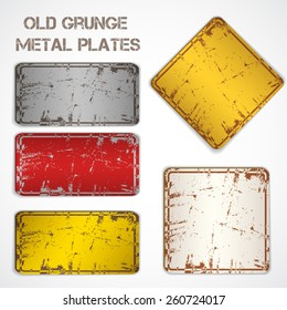 Set of old grunge rusty signs. Vector Illustration