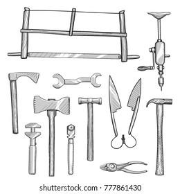 Set of old hand tools for manual workshops. Free hand drawing of collection of old hand tools for craftsmen and manufacturers.