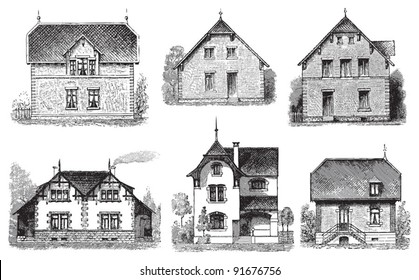 Set of old houses - Vintage illustration from Meyers Konversations-Lexikon 1897