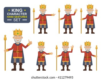 Set of old king characters showing different hand gestures. Cheerful king showing thumb up gesture, waving, greeting, pointing, this way, victory hand. Flat style vector illustration
