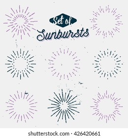 set of old light rays, retro sunbursts, vintage sun rays, lined flashes and sparkles, hand drawn badges, labels, signs, design elements, stock vector