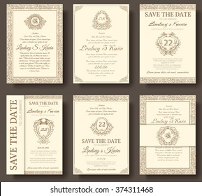 Set of old luxury flyer pages ornament illustration concept. Vintage art traditional, Islam, arabic, indian, ottoman motifs, elements. Vector decorative retro greeting card or invitation design.