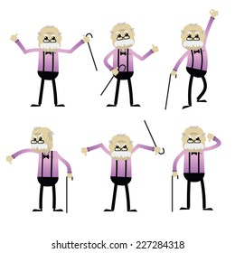 Set of old man in different pose