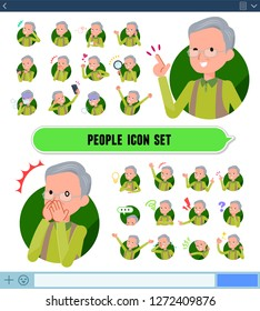 A set of old man with expresses various emotions on the SNS screen.There are variations of emotions such as joy and sadness.It's vector art so it's easy to edit.