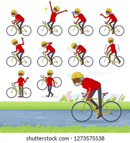 A set of old man on a road bike.There is an action that is enjoying.It's vector art so it's easy to edit.