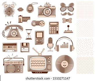 Set of old mass media appliances: TV, radio, microphone, headphones, camera, phone, etc. Hand drawn sepia style icons isolated for stickers, hipster party invitations. Retro seamless patterns included