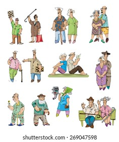 set of old men and pensioners - cartoon