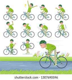 A set of old men in sportswear on a road bike.There is an action that is enjoying.It's vector art so it's easy to edit.