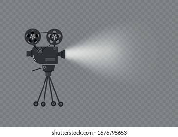 Set of old movie cinema projectors on a tripod. Hand-drawn sketch of an old cinema projectors in monochrome, isolated on white background. Template for banner, flyer or poster. Vector illustration.