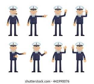 Set of old navy captain characters showing different hand gestures. Cheerful skipper showing thumb up gesture, this way, greeting, waving, pointing up, victory sign. Flat style vector illustration