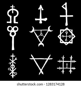 Set of Old Norse Scandinavian runes imaginary version. Runic alphabet symbols, futhark. Inspired by ancient occult symbols, vikings letters and runes. Vector.