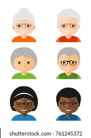 Set of old people avatars icons. Avatars portraits grandfather and grandmother. Characters for web. Vector illustration in flat style isolated on white background.