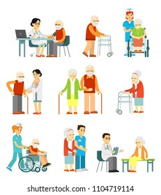 Set of old people in different situation. Elderly people, doctors and nurses. Consultation, medical diagnosis and treatment. Vector illustration in flat style isolated on white background.