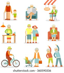 Set of old people in different situations. Senior man and woman activities - walking, cooking, shopping, cycling, recreation
