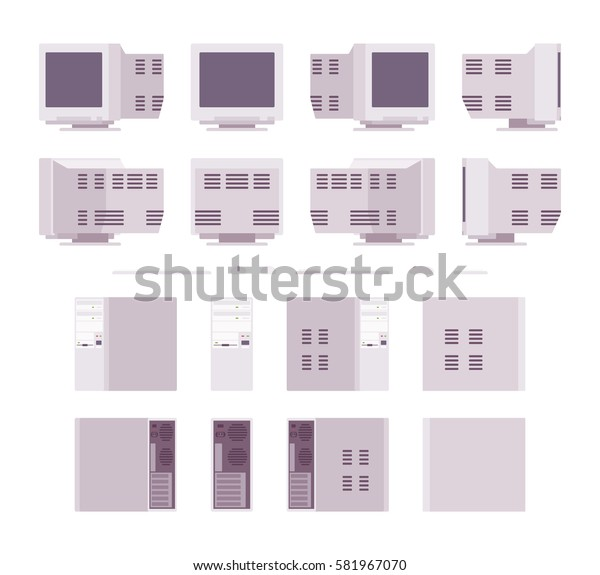 Set of old personal computer with blank screen, keyboard, mouse, system unit, retro office workspace, nostalgic device, different positions, isolated against white background in different views