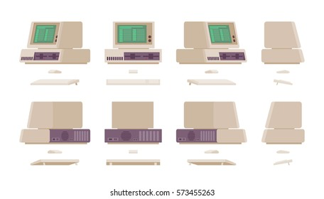 Set of old personal computer with green screen, system with a keyboard and mouse, retro office workspace, nostalgic device, different positions, isolated against white background in different views