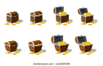 Set old pirate chests full of treasures, gold vector, cartoon style, illustration, isolated. For games, advertising applications