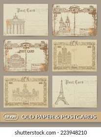 set of old postcards. European capitals.
