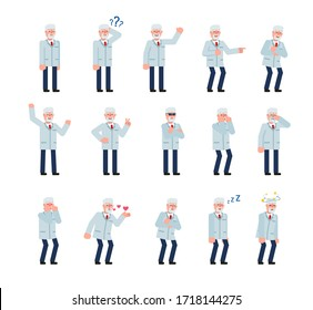 Set of old professor characters showing various emotions. Doctor thinking, crying, laughing, angry, tired and showing other expressions. Minimal design vector illustration