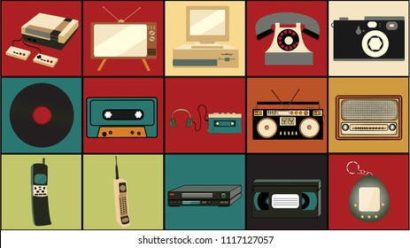 Set of old retro vintage hipster technology, electronics music vinyl, audio and video cassette tape recorder TV game console phone camera and player from the 80's, 90's on colorful backgrounds. Vector