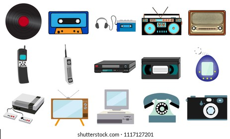 Set of old retro vintage hipster technology, electronics music vinyl, audio and video cassette tape recorder TV game console phone camera and player from the 80's, 90's. Vector illustration.