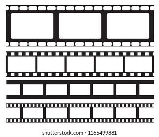 Set of old retro vntage film strip frame, vector illustration.Cinema frame. Movie tape. flat isolated on white background. Use for wed,banner,poster.