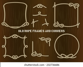 Set of Old Rope Frames and Corners in Different Unique Styles on Abstract Brown Background.