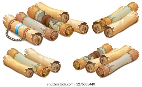 Set old royal scrolls decorated with leather belt and silver elements. Reward message on parchment. Isometric 3d vector illustration for computer games and books design.
