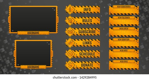 Set of old rusty gaming panels with  gunshots and scratches for live streamers. Orange metal alerts and buttons with road signs. Webcam 16:9 and 4:3 screen resolution. Eps10 vector