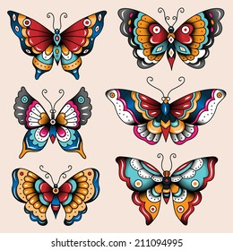 cf7be30c3 Set of old school tattoo art butterflies for design and decoration