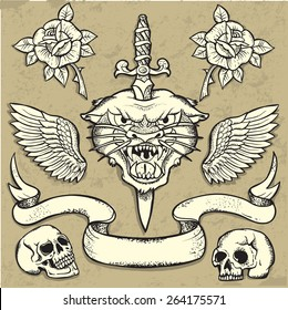 Set of Old School Tattoo Elements with roses and skulls