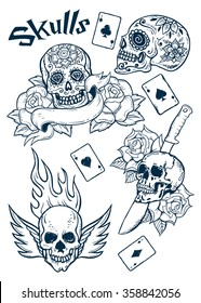 Set of Old School Tattoo Elements with Skulls and aces..Tattoo-art design. Hand-drawn vector images. Good for stickers. Easy to edit. EPS8 file