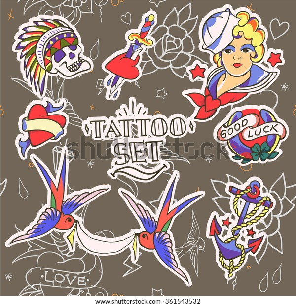 06348d035eeea Set of Old School Tattoo Elements. Vector illustration on the seamless  pattern. Good for