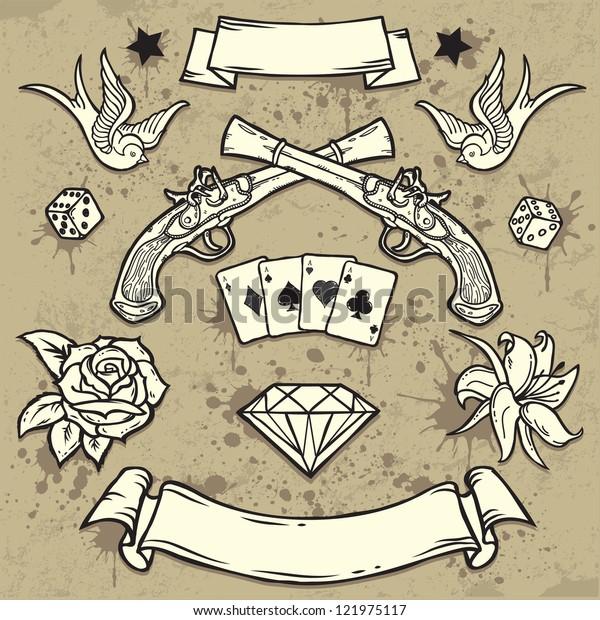 Set Old School Tattoo Elementstattooart Design Stock Vector Royalty